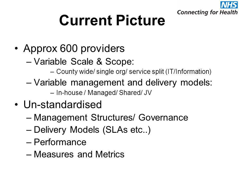 Current Picture Approx 600 providers –Variable Scale & Scope: –County wide/ single org/ service split (IT/Information) –Variable management and delivery models: –In-house / Managed/ Shared/ JV Un-standardised –Management Structures/ Governance –Delivery Models (SLAs etc..) –Performance –Measures and Metrics