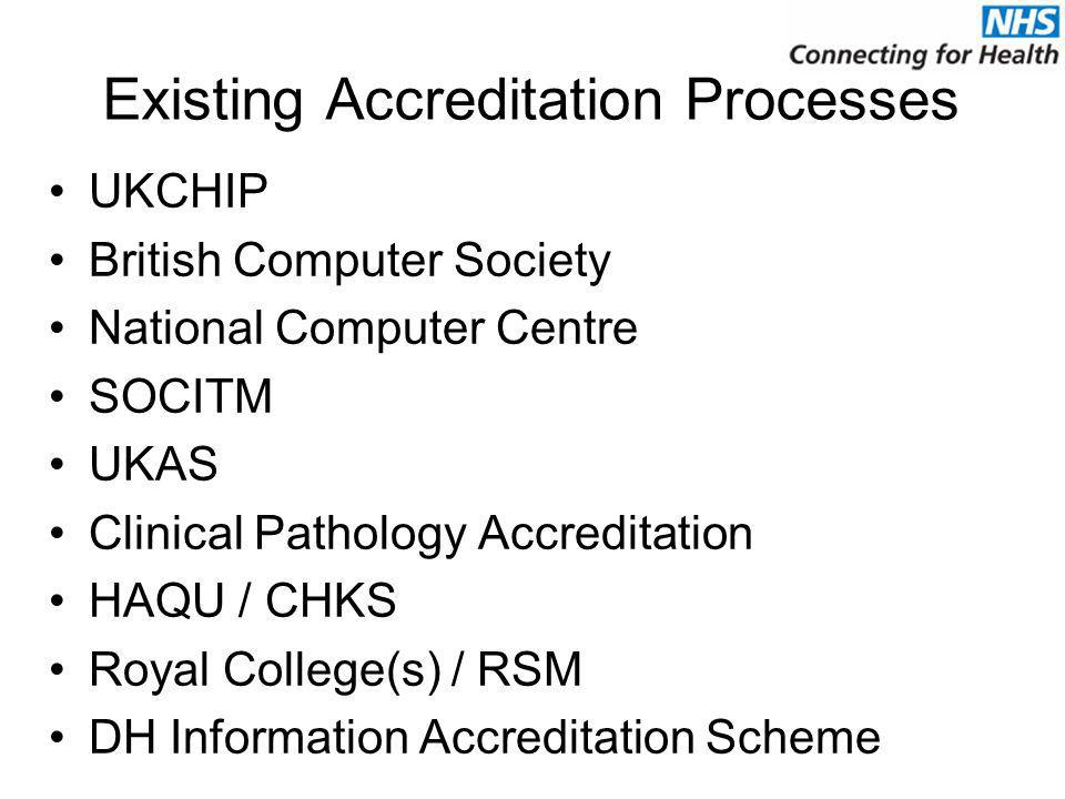 Existing Accreditation Processes UKCHIP British Computer Society National Computer Centre SOCITM UKAS Clinical Pathology Accreditation HAQU / CHKS Roy
