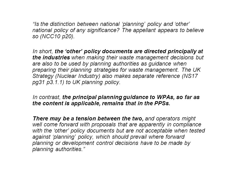 Is the distinction between national 'planning' policy and 'other' national policy of any significance.