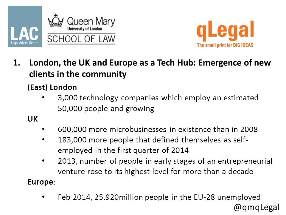 1.London, the UK and Europe as a Tech Hub: Emergence of new clients in the community (East) London 3,000 technology companies which employ an estimated 50,000 people and growing UK 600,000 more microbusinesses in existence than in 2008 183,000 more people that defined themselves as self- employed in the first quarter of 2014 2013, number of people in early stages of an entrepreneurial venture rose to its highest level for more than a decade Europe: Feb 2014, 25.920million people in the EU-28 unemployed @qmqLegal