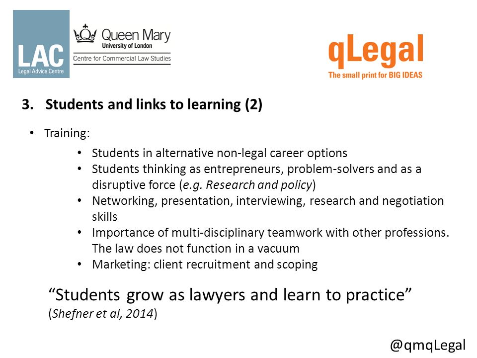 3.Students and links to learning Training: Students in alternative non-legal career options Students thinking as entrepreneurs, problem-solvers and as a disruptive force (e.g.