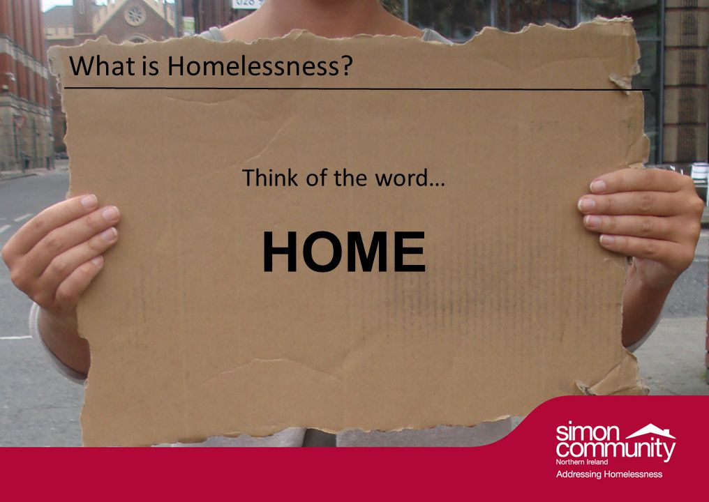 What is Homelessness Think of the word… HOME