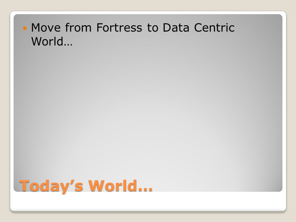 Today's World… Move from Fortress to Data Centric World…