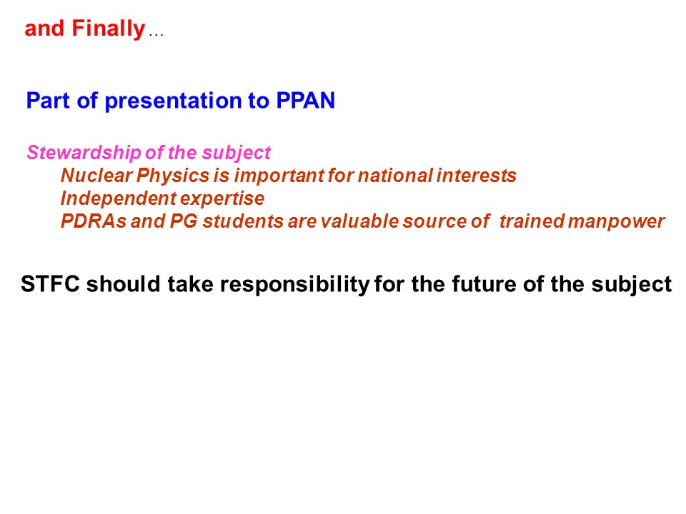 Part of presentation to PPAN Stewardship of the subject Nuclear Physics is important for national interests Independent expertise PDRAs and PG students are valuable source of trained manpower STFC should take responsibility for the future of the subject and Finally …