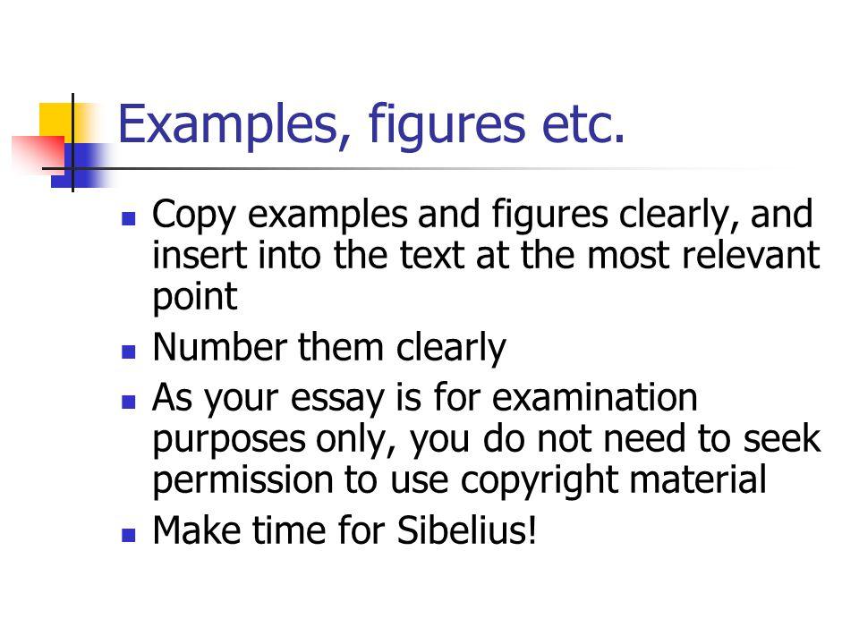 Examples, figures etc.