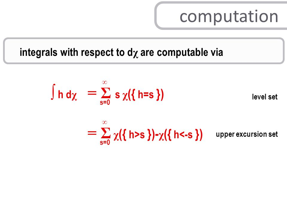 integrals with respect to d χ are computable via ∫ h d χ = Σ s χ ({ h=s }) s=0 ∞ = Σ χ ({ h>s })- χ ({ h<-s }) s=0 ∞ level set upper excursion set computation