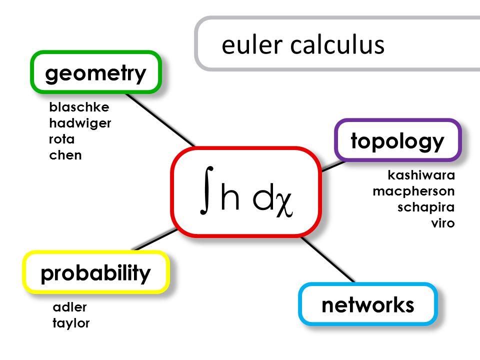 ∫ h d χ geometry probability topology networks kashiwara macpherson schapira viro blaschke hadwiger rota chen adler taylor euler calculus