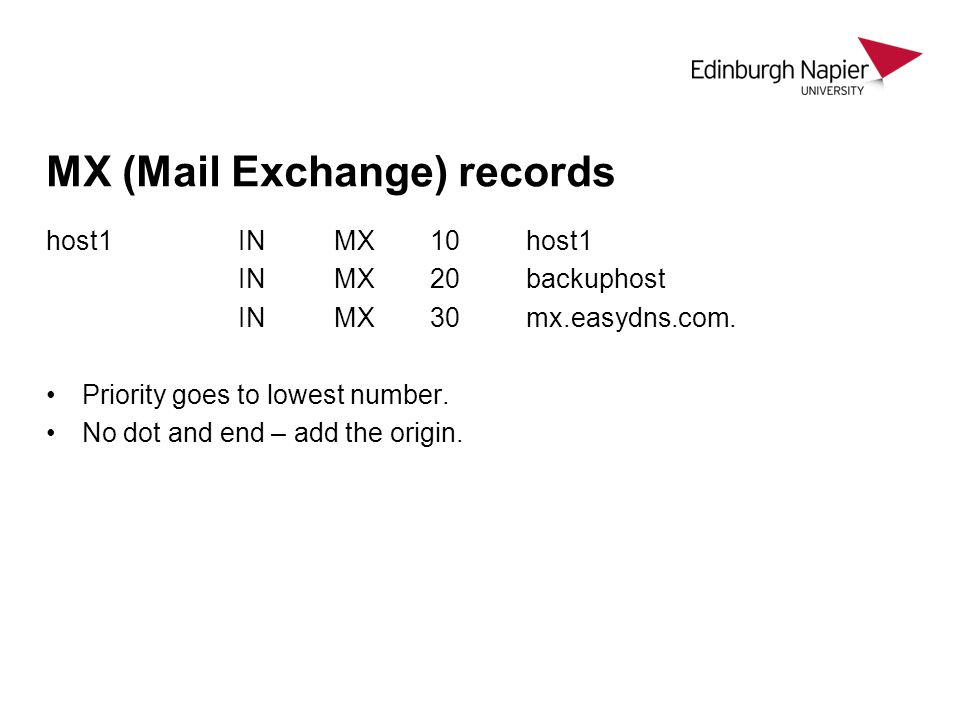 MX (Mail Exchange) records host1INMX10host1 INMX20backuphost INMX30mx.easydns.com. Priority goes to lowest number. No dot and end – add the origin.