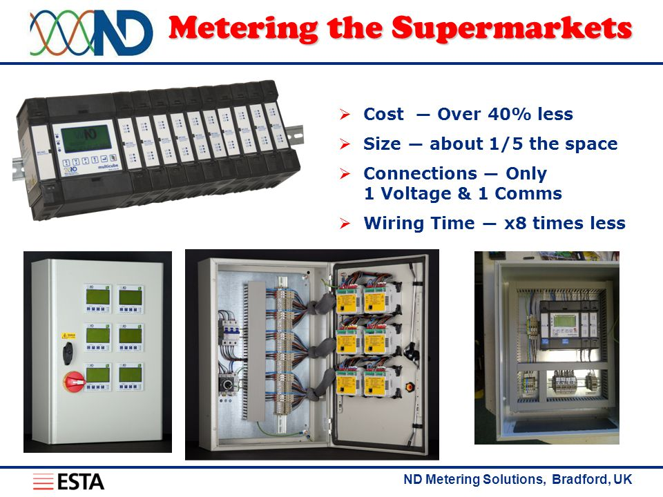 ND Metering Solutions, Bradford, UK Metering the Supermarkets  Cost ― Over 40% less  Size ― about 1/5 the space  Connections ― Only 1 Voltage & 1 Comms  Wiring Time ― x8 times less