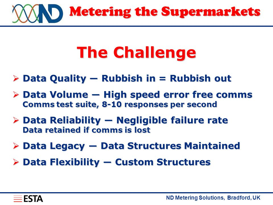 ND Metering Solutions, Bradford, UK Metering the Supermarkets The Challenge  Data Quality ― Rubbish in = Rubbish out  Data Volume ― High speed error free comms Comms test suite, 8-10 responses per second  Data Reliability ― Negligible failure rate Data retained if comms is lost  Data Legacy ― Data Structures Maintained  Data Flexibility ― Custom Structures