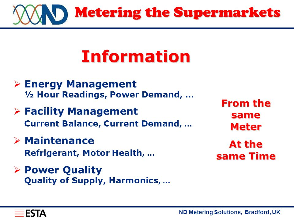 ND Metering Solutions, Bradford, UK Metering the Supermarkets  Energy Management ½ Hour Readings, Power Demand, …  Facility Management Current Balance, Current Demand, …  Maintenance Refrigerant, Motor Health, …  Power Quality Quality of Supply, Harmonics, … From the same Meter At the same Time Information
