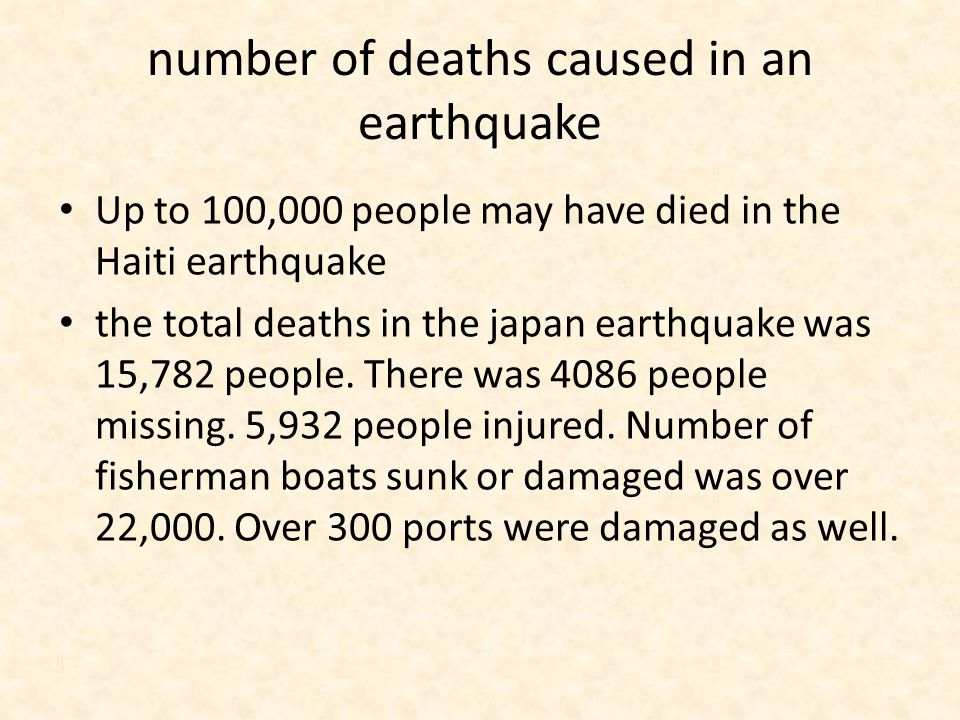 number of deaths caused in an earthquake Up to 100,000 people may have died in the Haiti earthquake the total deaths in the japan earthquake was 15,782 people.