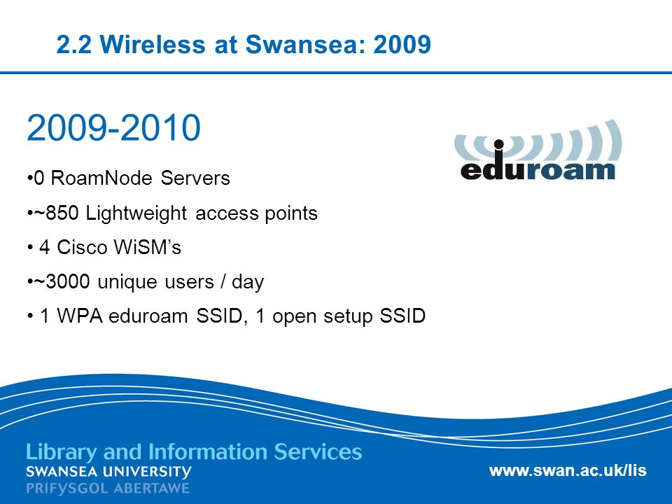 www.swan.ac.uk/lis 2.2 Wireless at Swansea: 2009 2009-2010 0 RoamNode Servers ~850 Lightweight access points 4 Cisco WiSM's ~3000 unique users / day 1