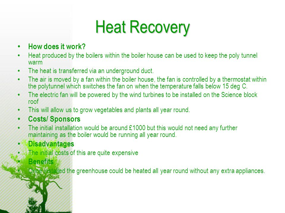 Heat Recovery How does it work.
