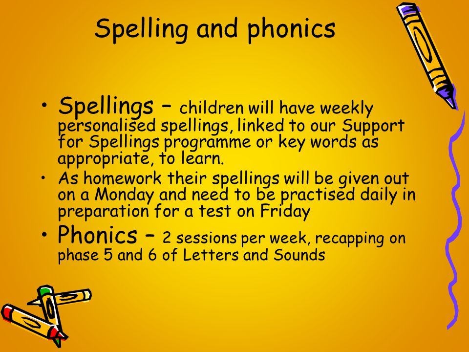 Spelling and phonics Spellings – children will have weekly personalised spellings, linked to our Support for Spellings programme or key words as appropriate, to learn.