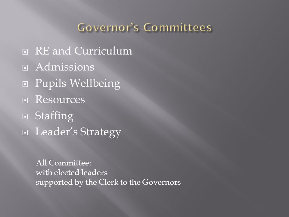  RE and Curriculum  Admissions  Pupils Wellbeing  Resources  Staffing  Leader's Strategy All Committee: with elected leaders supported by the Clerk to the Governors