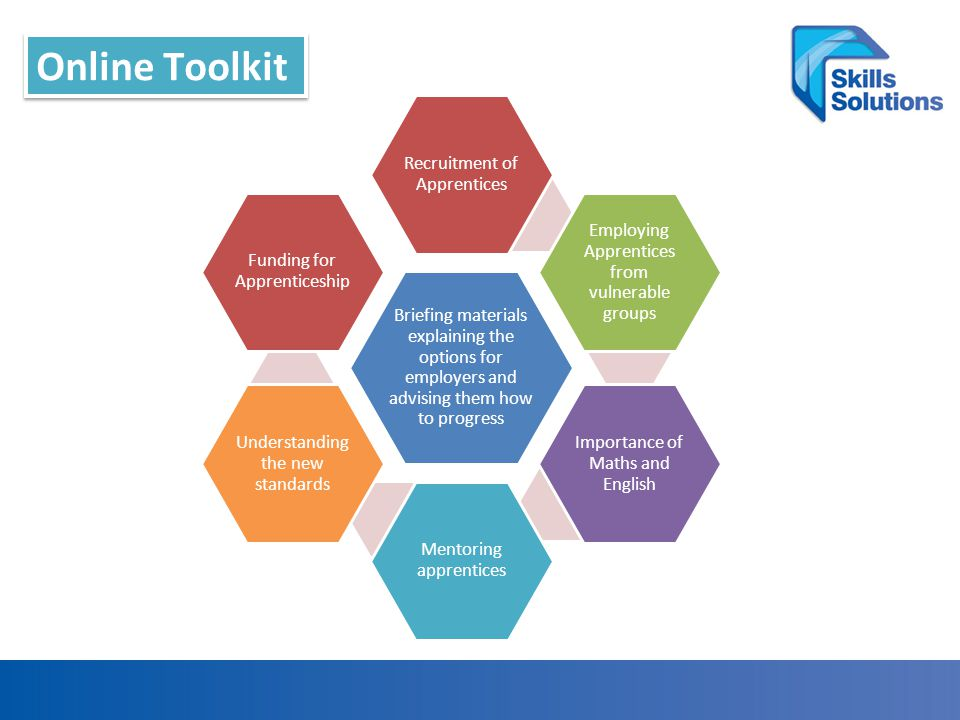 Online Toolkit Briefing materials explaining the options for employers and advising them how to progress Recruitment of Apprentices Employing Apprentices from vulnerable groups Importance of Maths and English Mentoring apprentices Understanding the new standards Funding for Apprenticeship