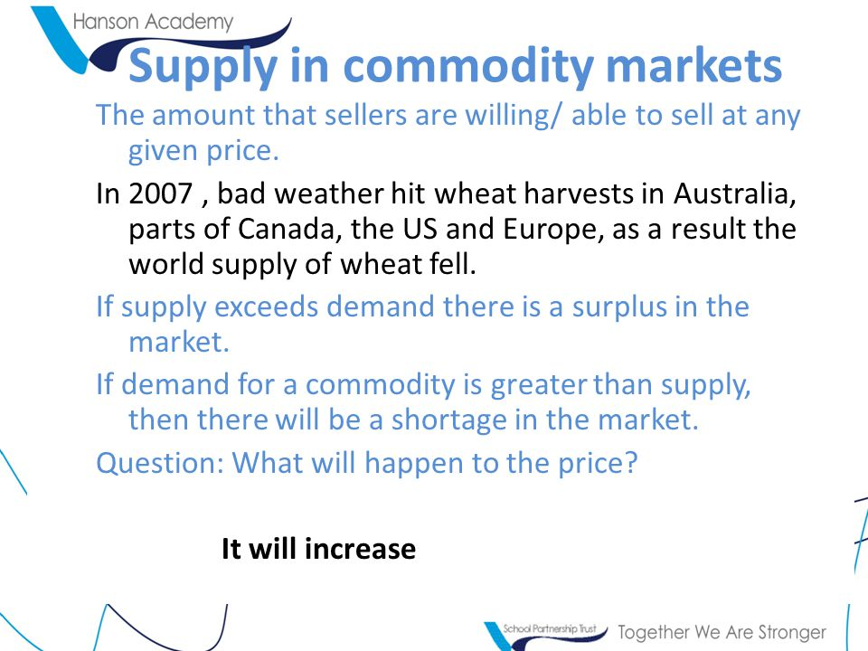 Supply in commodity markets The amount that sellers are willing/ able to sell at any given price.