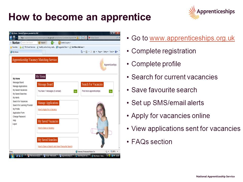 How to become an apprentice Go to www.apprenticeships.org.ukwww.apprenticeships.org.uk Complete registration Complete profile Search for current vacan