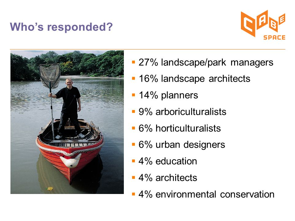 Who's responded?  27% landscape/park managers  16% landscape architects  14% planners  9% arboriculturalists  6% horticulturalists  6% urban des