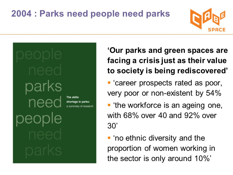 'Our parks and green spaces are facing a crisis just as their value to society is being rediscovered'  'career prospects rated as poor, very poor or non-existent by 54%  'the workforce is an ageing one, with 68% over 40 and 92% over 30'  'no ethnic diversity and the proportion of women working in the sector is only around 10%' 2004 : Parks need people need parks