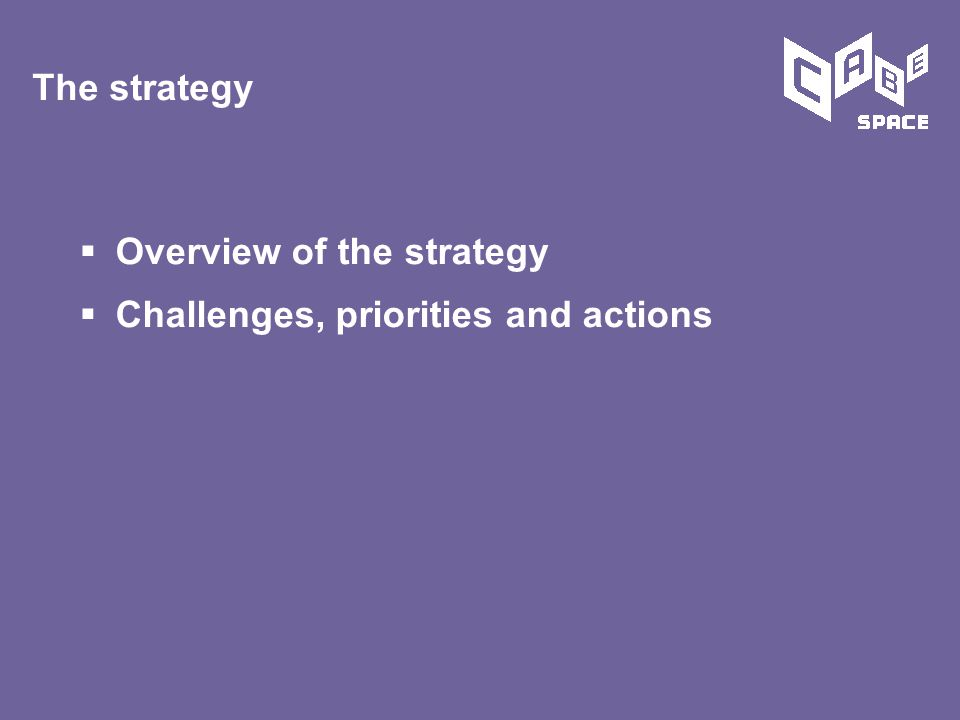  Overview of the strategy  Challenges, priorities and actions The strategy