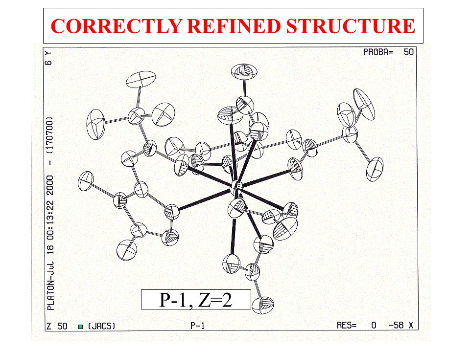 P-1, Z=2 CORRECTLY REFINED STRUCTURE