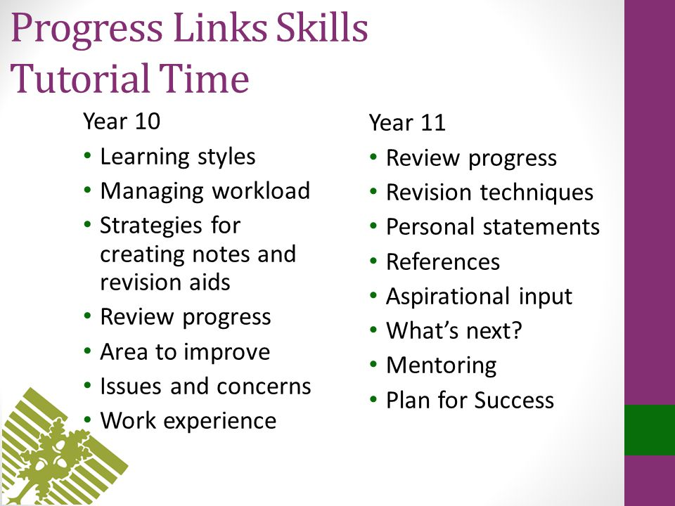 Progress Links Skills Tutorial Time Year 10 Learning styles Managing workload Strategies for creating notes and revision aids Review progress Area to improve Issues and concerns Work experience Year 11 Review progress Revision techniques Personal statements References Aspirational input What's next.
