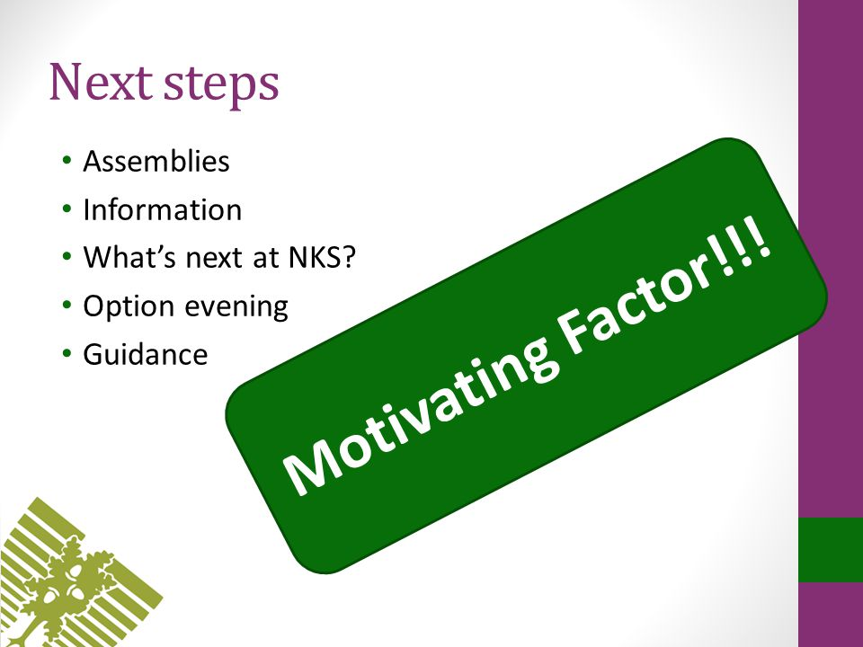 Next steps Assemblies Information What's next at NKS Option evening Guidance Motivating Factor!!!