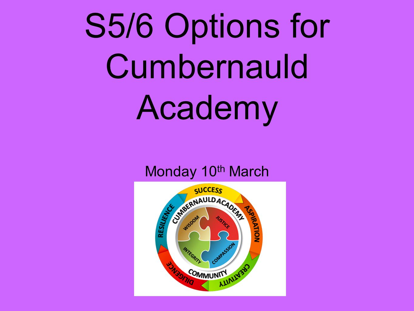S5/6 Options for Cumbernauld Academy Monday 10 th March