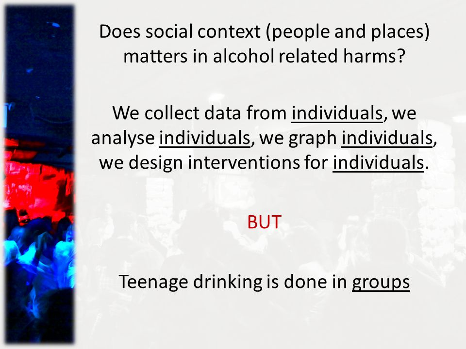 Does social context (people and places) matters in alcohol related harms.