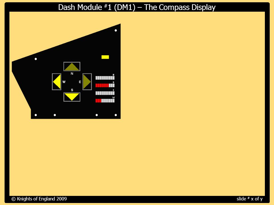 © Knights of England 2009slide # x of y Dash Module # 1 (DM1) – The Compass Display Screen Capture