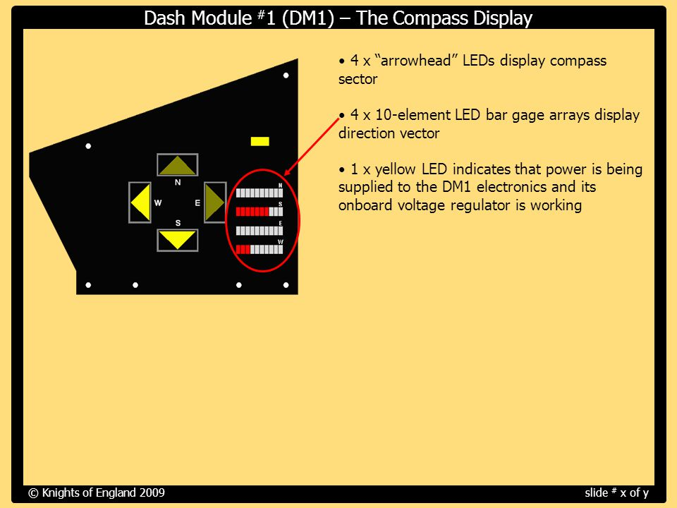 4 x arrowhead LEDs display compass sector 4 x 10-element LED bar gage arrays display direction vector 1 x yellow LED indicates that power is being supplied to the DM1 electronics and its onboard voltage regulator is working © Knights of England 2009slide # x of y Dash Module # 1 (DM1) – The Compass Display