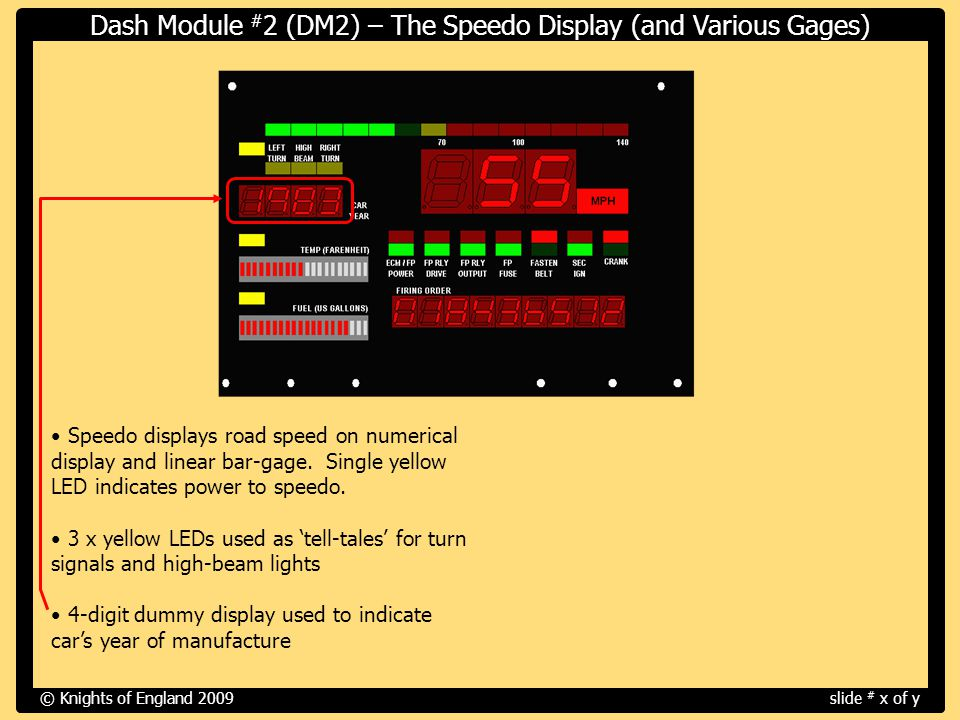 Speedo displays road speed on numerical display and linear bar-gage.