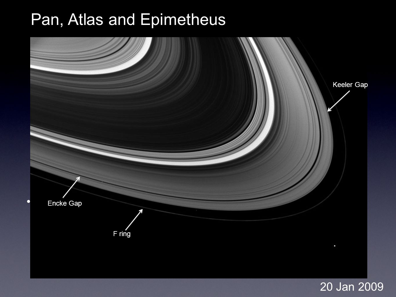 Pan, Atlas and Epimetheus 20 Jan 2009 F ring Encke Gap Keeler Gap