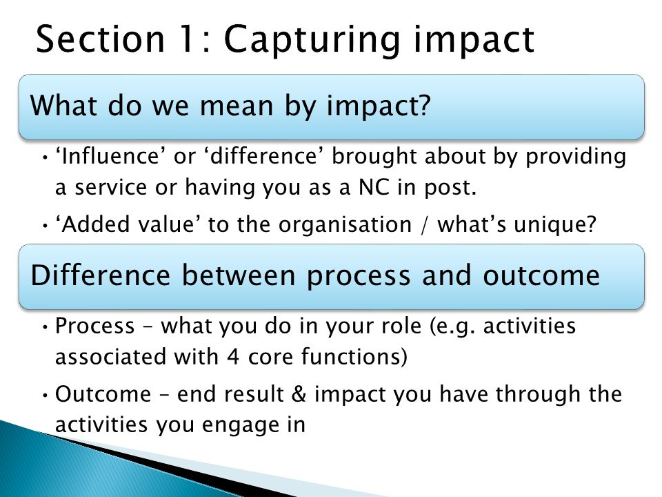 What do we mean by impact.