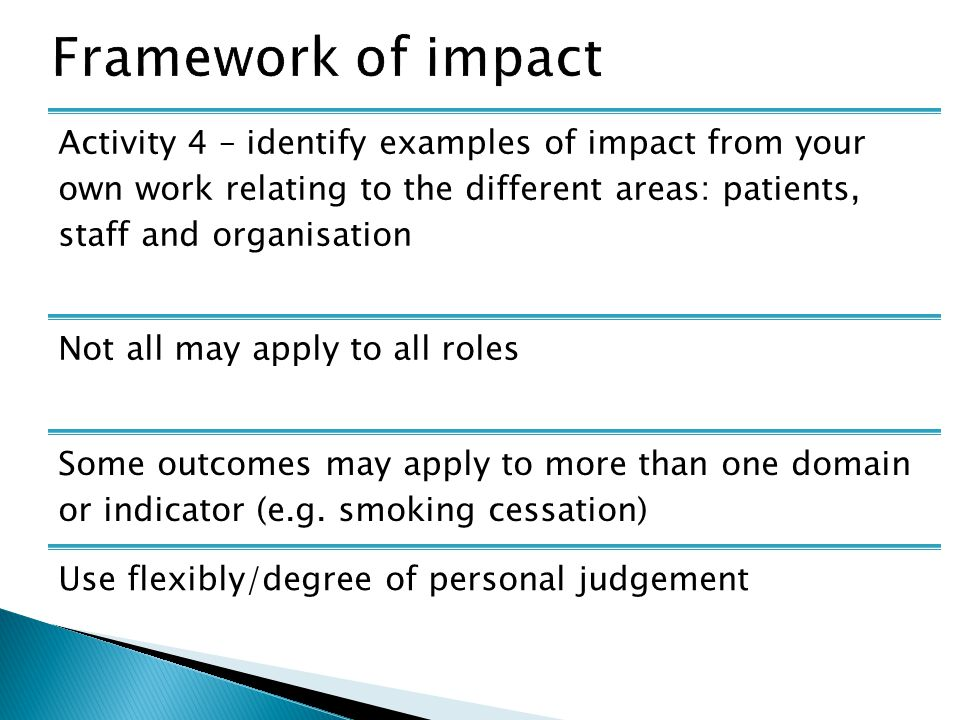 Activity 4 – identify examples of impact from your own work relating to the different areas: patients, staff and organisation Not all may apply to all roles Some outcomes may apply to more than one domain or indicator (e.g.