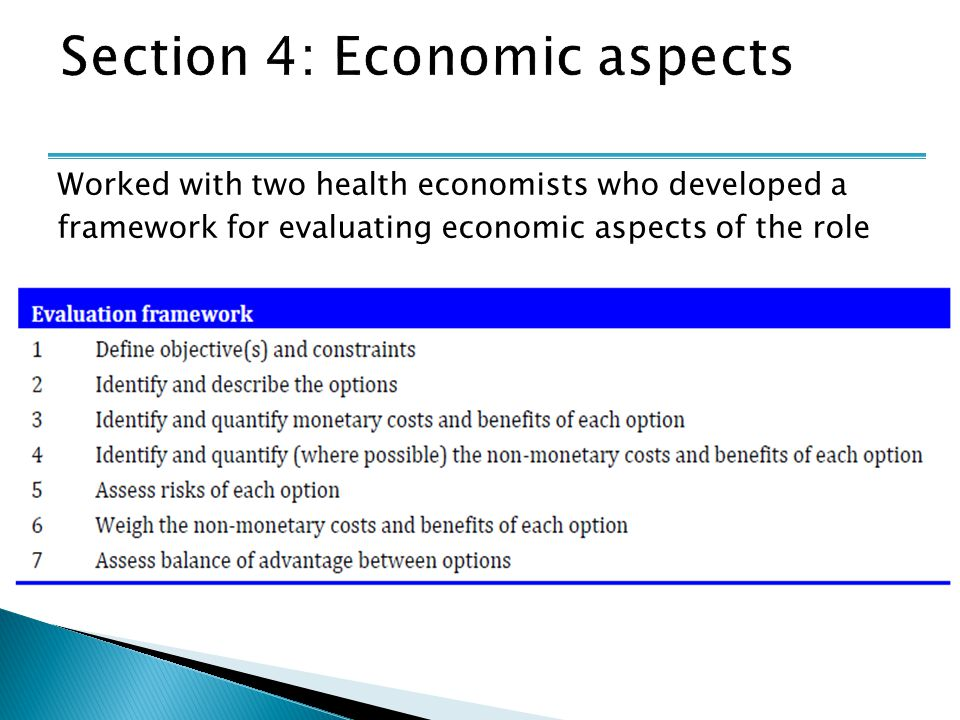 Worked with two health economists who developed a framework for evaluating economic aspects of the role
