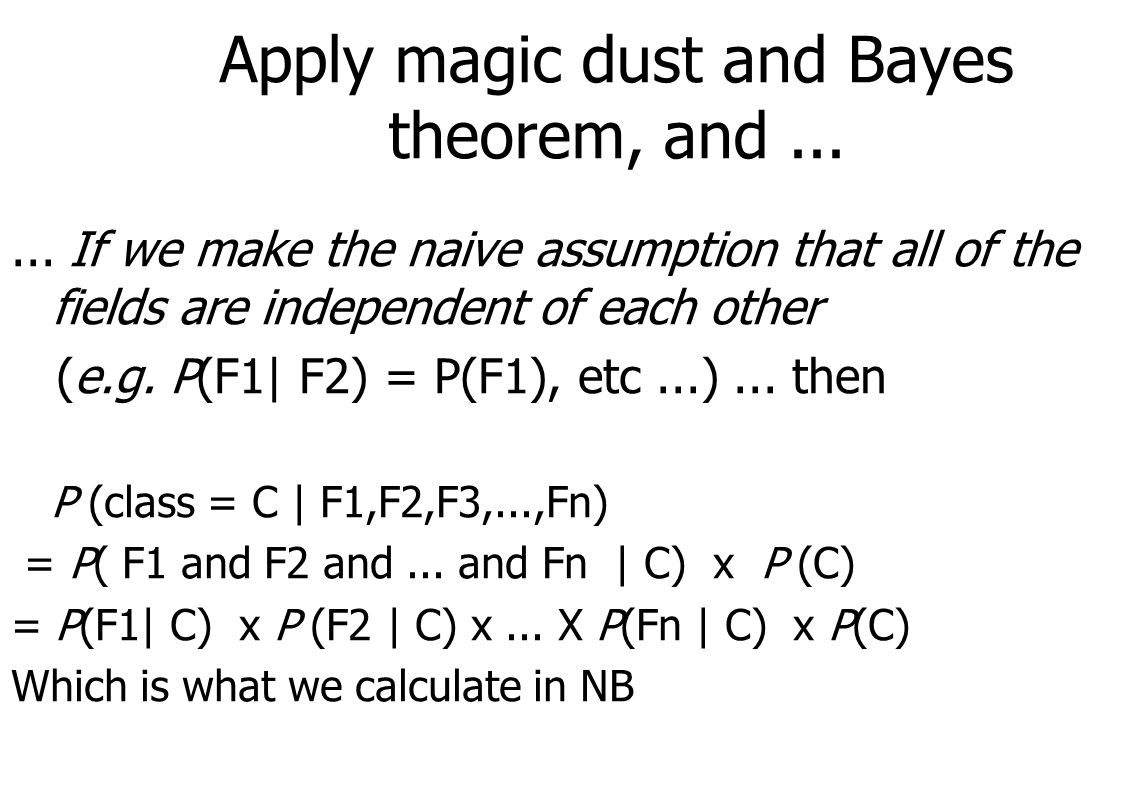 Apply magic dust and Bayes theorem, and...... If we make the naive assumption that all of the fields are independent of each other (e.g. P(F1| F2) = P