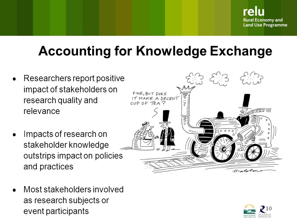 10 Accounting for Knowledge Exchange  Researchers report positive impact of stakeholders on research quality and relevance  Impacts of research on stakeholder knowledge outstrips impact on policies and practices  Most stakeholders involved as research subjects or event participants