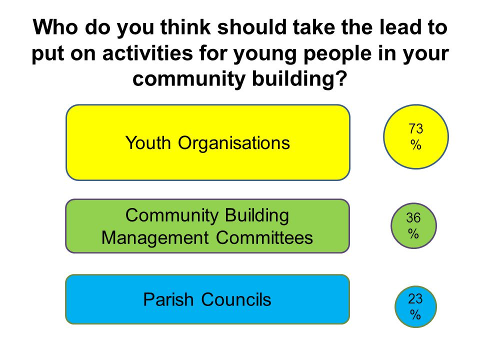 Who do you think should take the lead to put on activities for young people in your community building.