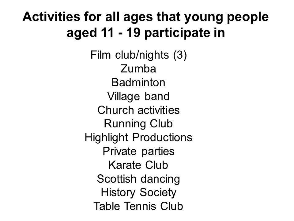 Activities for all ages that young people aged participate in Film club/nights (3) Zumba Badminton Village band Church activities Running Club Highlight Productions Private parties Karate Club Scottish dancing History Society Table Tennis Club