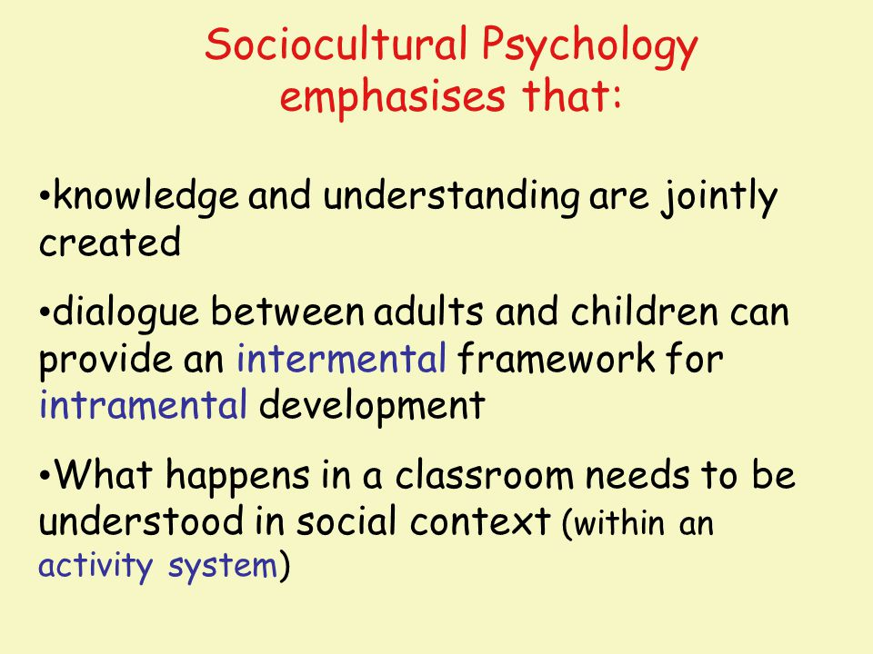 Sociocultural Psychology emphasises that: knowledge and understanding are jointly created dialogue between adults and children can provide an intermen