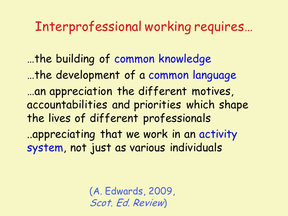 Interprofessional working requires… …the building of common knowledge …the development of a common language …an appreciation the different motives, ac