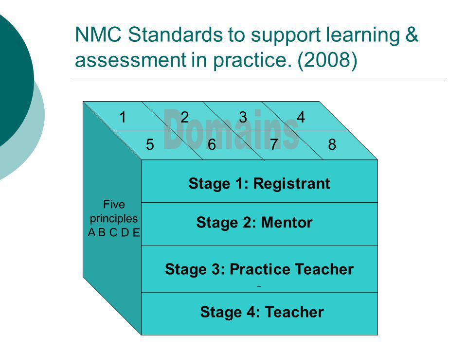 NMC Domains Domains to be achieved according to the standard: o Establishing effective working partnerships o Facilitation of learning o Assessment and accountability o Evaluation of learning o Creating an environment for learning o Context of practice o Evidence based practice o Leadership (NMC, 2008)