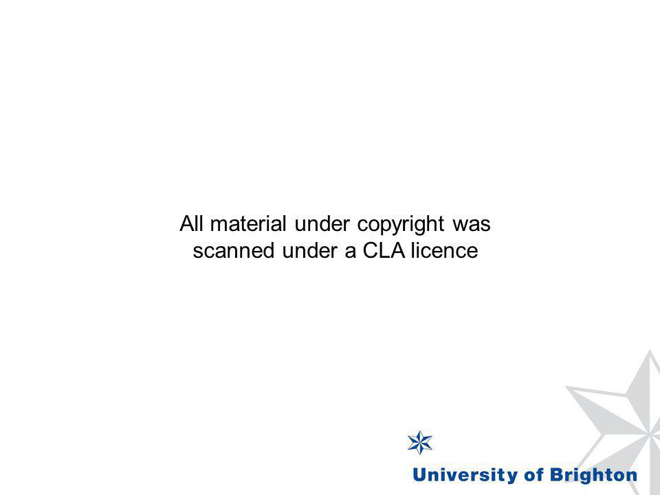 All material under copyright was scanned under a CLA licence