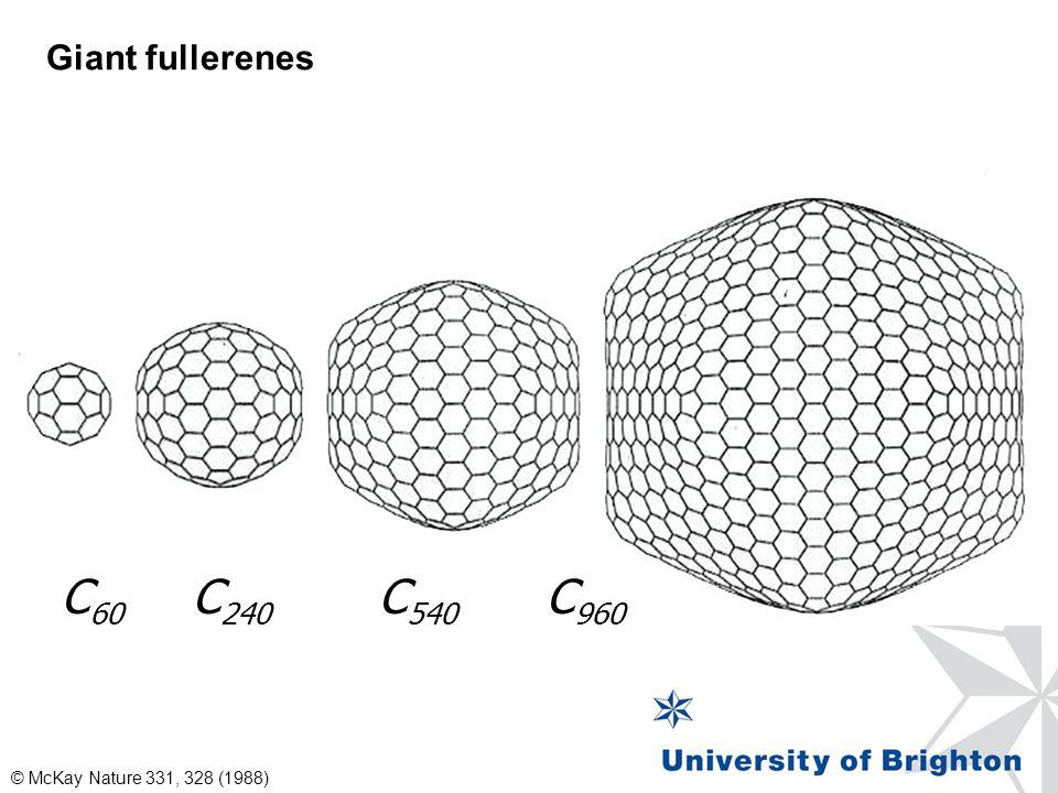 C 60 C 240 C 540 C 960 © McKay Nature 331, 328 (1988) Giant fullerenes