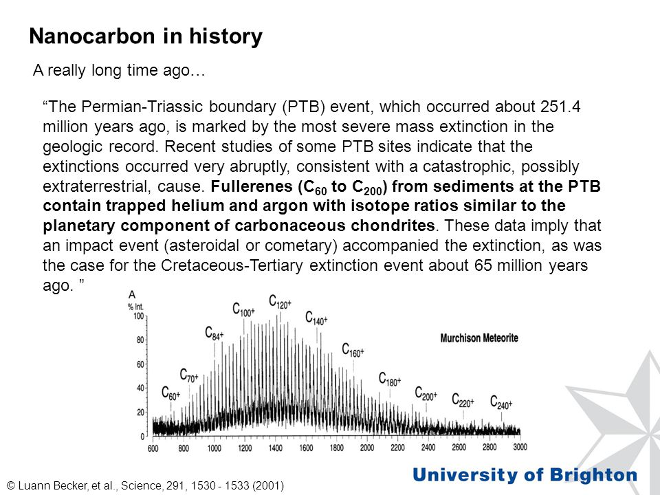 Nanocarbon in history The Permian-Triassic boundary (PTB) event, which occurred about 251.4 million years ago, is marked by the most severe mass extinction in the geologic record.