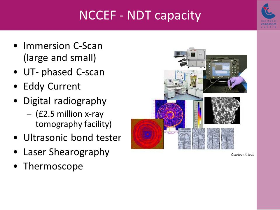 NCCEF - NDT capacity Immersion C-Scan (large and small) UT- phased C-scan Eddy Current Digital radiography –(£2.5 million x-ray tomography facility) U