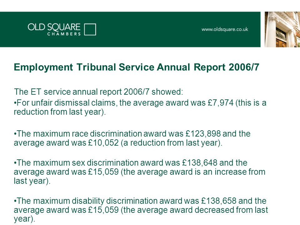 Employment Tribunal Service Annual Report 2006/7 The ET service annual report 2006/7 showed: For unfair dismissal claims, the average award was £7,974 (this is a reduction from last year).